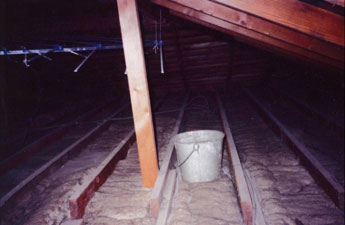 bucket in attic space